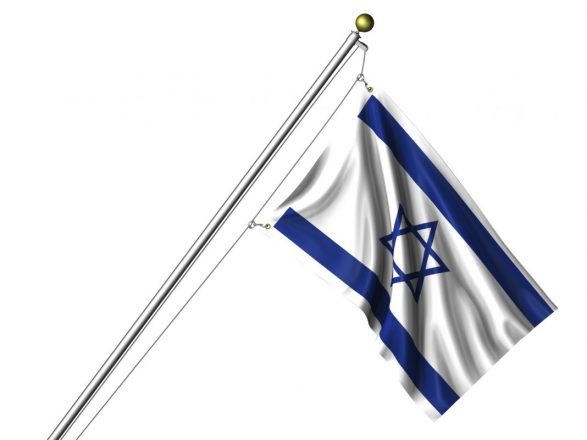 Detailed 3d rendering of the flag of Israel hanging on a flag pole isolated on a white background.  Flag has a fabric texture and a clipping path is included.