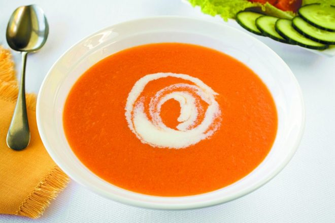 Red Pepper Soup and Salad