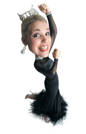 caricature of caucasian blonde beauty queen in black dress and tiara throws arms in the air dances