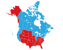 The United States of Canada, seen in blue, next to a red-colored Jesusland.