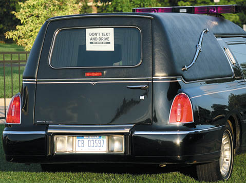 This parked hearse from Hebrew Memorial Chapel made a powerful impact at the Driving to Distraction event designed to discourage teens from texting while driving.