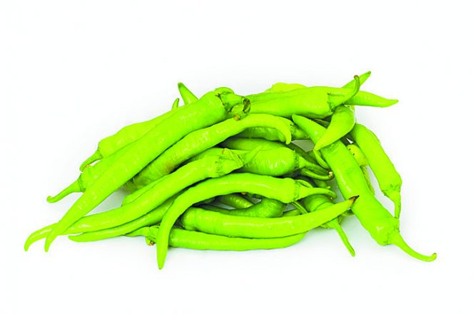 Green peppers isolated on the white background