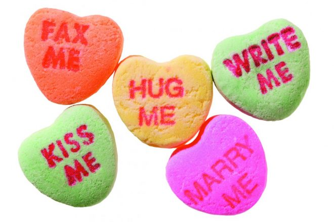 Candy hearts with messages