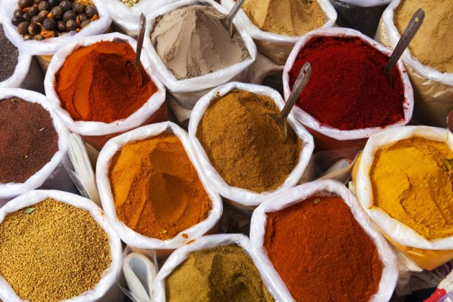 Piles of spice