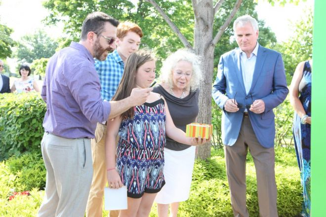 The family of David Page at the garden's dedication