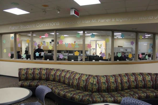 The student commons area at Frankel Jewish Academy