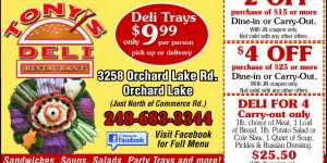Tony's Deli, Orchard Lake