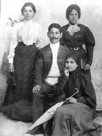 Barbara Lewis' grandparents Anna Barshai and Yosef Nsidovitch, left, with her grandfather's sister, Mera Naidovitch, right. She doesn't who the other woman is.