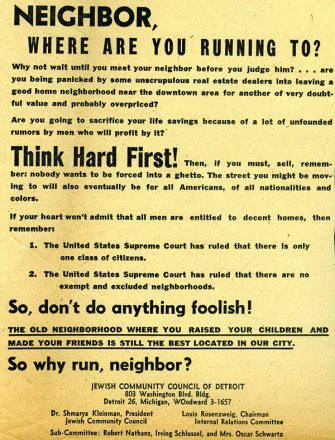 This flyer was created by the Jewish community to help stop white flight from Detroit. Credit: Leonard N. Simons Jewish Community Archives: Jewish Community Council Records, Walter P. Reuther Library