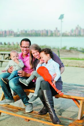 Rachel Lipson with her husband, Kamali Robinson, and their sons Henry, 1, and Maxwell, 3