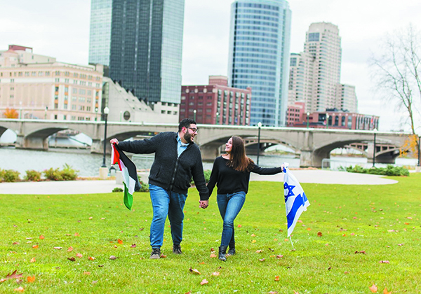 Victor Hasbany, who is Palestinian American, and Allison Egrin, who is Jewish, have created Peace by Piece at Grand Valley State