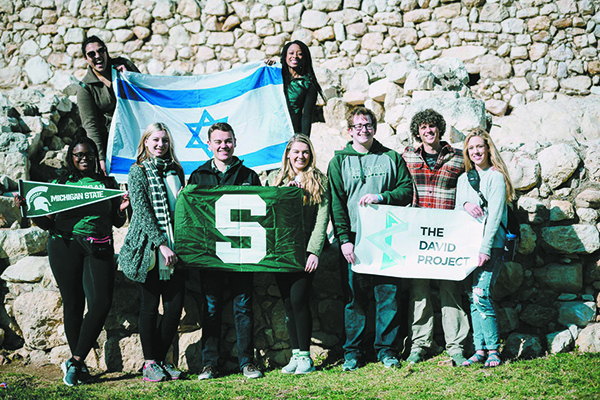MSU students on the David Project mission to Israel (Ari Chesterman is third from the right.)