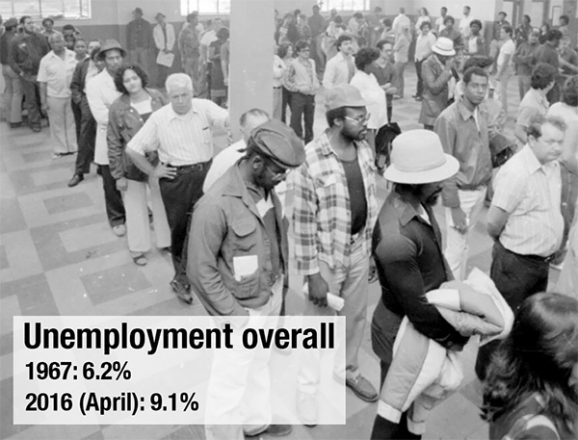 Long lines for unemployment checks in Detroit in the 1980s. (Courtesy of Walter P. Reuther Library)