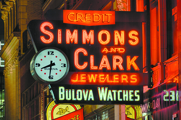 This photo of the classic Simmons & Clark neon sign has been viewed more than over 800,000 times on Flickr, according to its Facebook page. It has also been in several movies.