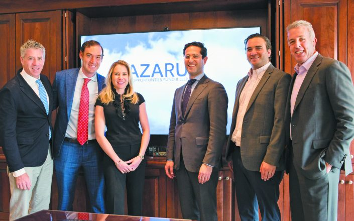 Jason Zimmerman, Schechter senior managing director; Justin Borus,  Lazarus manager & CIO; Megan Sandler, Schechter director of business development; Adam Eisenberg, Lazarus managing director; Aaron Hodari, Schechter managing director; and   Marc Schechter, senior managing director.