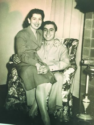 Norma (Reisig) and Phillip Layne (in uniform) in the photo used for their engagement announcement