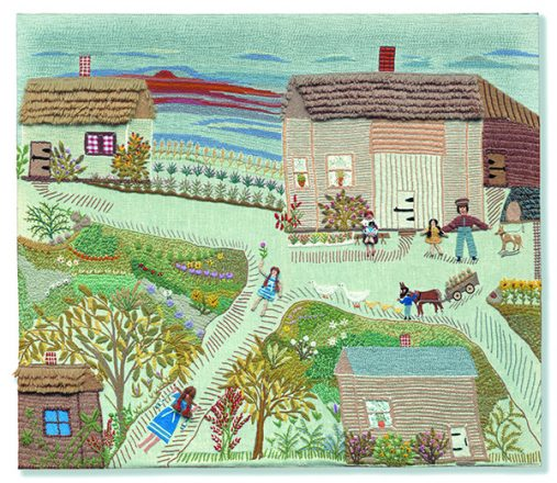 My Childhood Home: This is the first fabric piece by Esther Nisenthal Krinitz, made when she was 50. She had no experience as an artist but was confident in her sewing skills — and her daughters say she was a wonderful storyteller. Here, she shows her whole family, with her at the bottom of the picture carrying water from the river.
