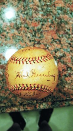 Here's the baseball autographed by Hank Greenberg that was purchased by Harry Glanz.