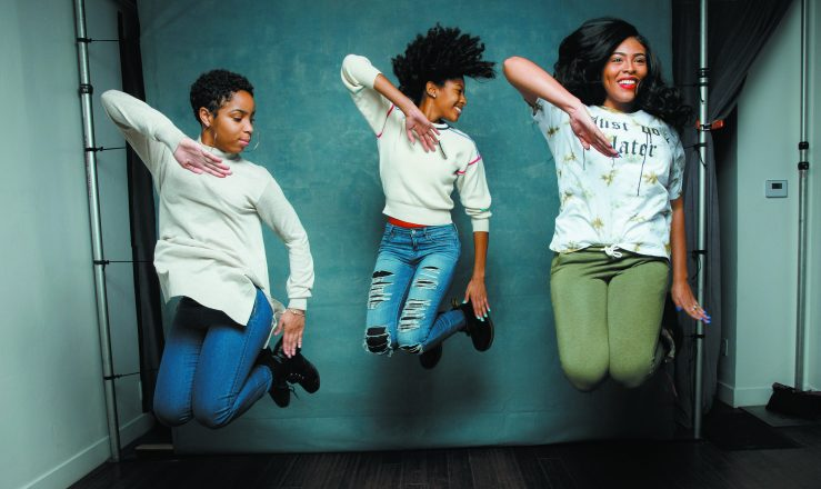 "Step team members Tayla Solomon, Cori Granger, and Blessin Giraldo, from the documentary film, ""STEP,"" are photographed at the 2017 Sundance Film Festival for Los Angeles Times on January 20, 2017 in Park City, Utah. PUBLISHED IMAGE. CREDIT : Jay L. Clendenin/Los Angeles Times/Contour by Getty Images. (Photo by Jay L. Clendenin/Los Angeles Times/Contour by Getty Images)"