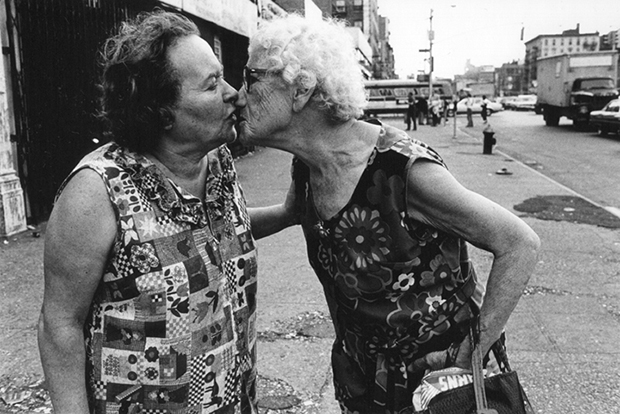 Mommie-kissing-Bubbie-on-Delancey-Street-New-York-1979