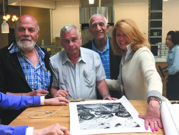Oshri, Yifat and Karasenti  with Roisman and the iconic 50-year-old photo.