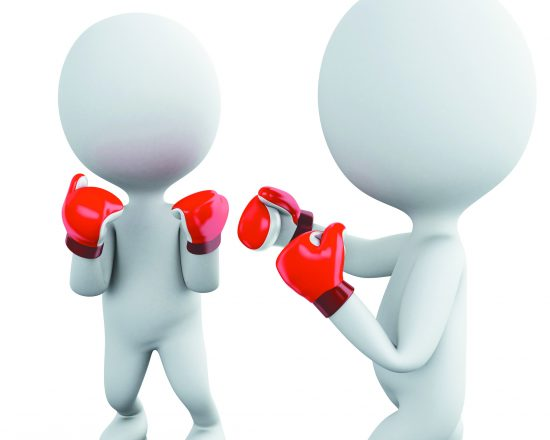 3d renderer image. Two white people in boxing match. Sport concept. Isolated white background.