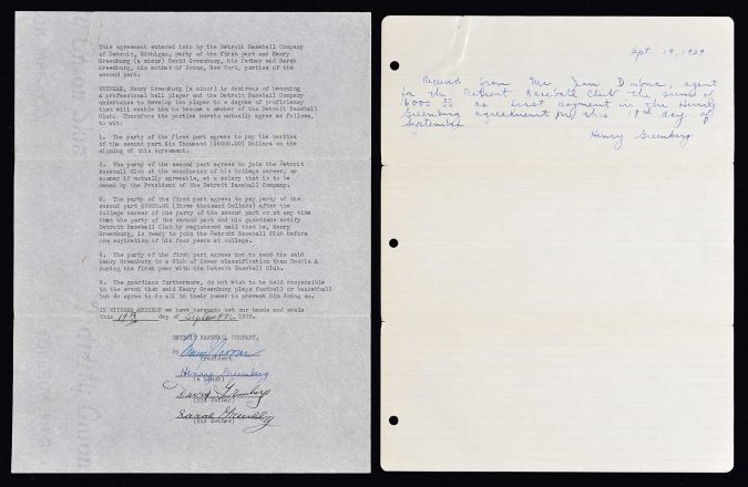 Hank Greenberg Contract