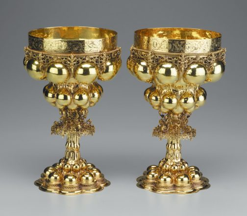 This pair of cups crafted by Nuremburg goldsmith Hans Petzolt in 1596 was the impetus for author Simon Goodman's talk at the DIA.  With these cups, Petzolt translated a late Gothic-era design into new Renaissance splendor overflowing with rich details.