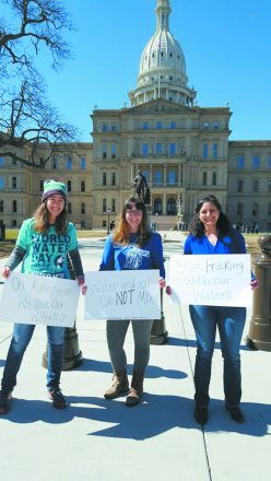Members of Detroit Jews for Justice at World Water Day in Lansing last March. L-R Ilana Unger (Hazon), DJJ leaders Leah Bransdorfer (middle) and Sam Woll (right)