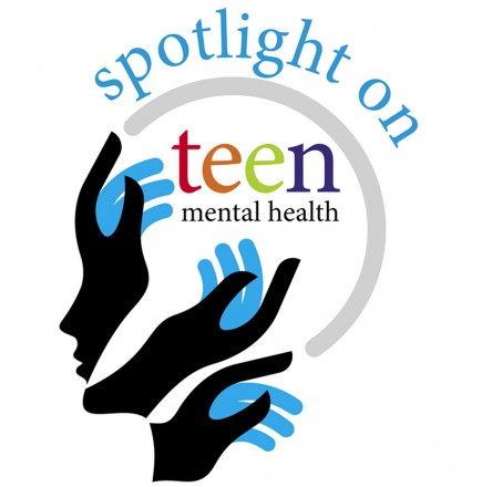 "The silhouette of a head pointing left is made up of black and blue hands. Above the head reads ""spotlight on,"" and in the head reads ""teen mental health."""