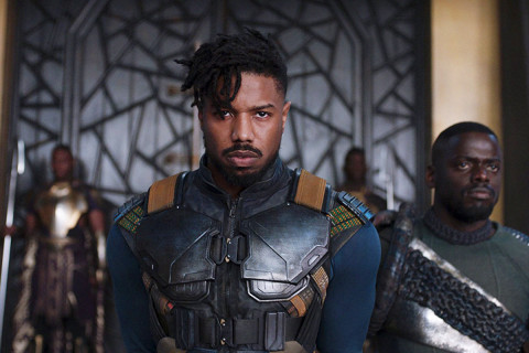Still from Black Panther of Michael B. Jordan in character.