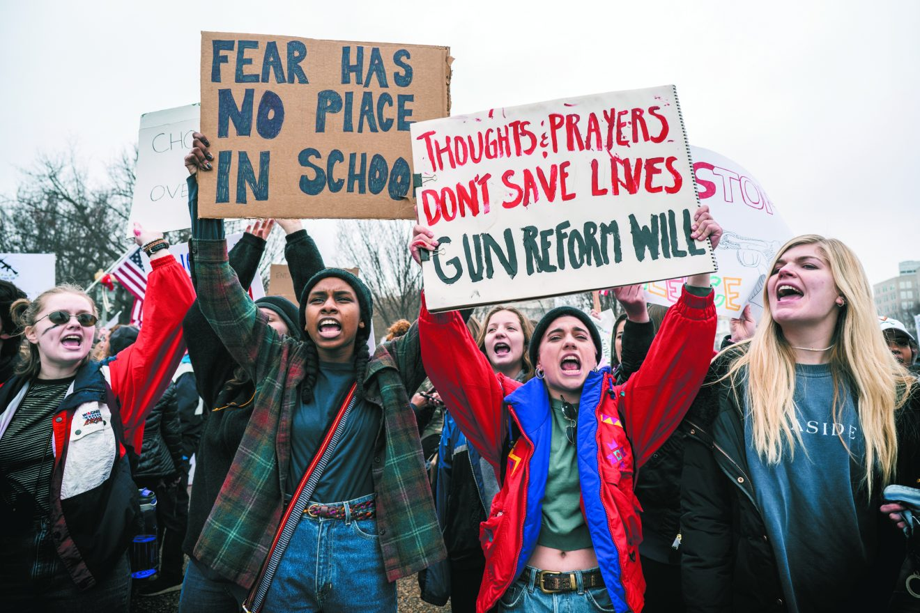 Students from Florida traveled to Washington, D.C., Feb. 21 to demand change on gun laws from legislators.