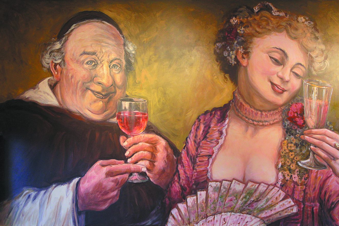 Painting of a large man and a large woman drinking wine together.