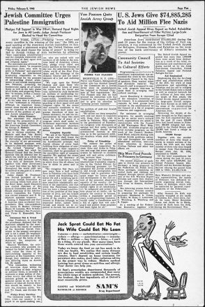 Detroit Jewish News paper from February 2, 1943 edition.