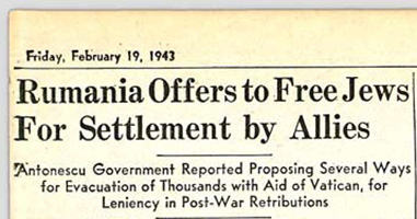 "Headline from the Detroit Jewish News on Febraury 19, 1943 reading ""Rumania Offers to Free Jews For Settlement by Allies"""
