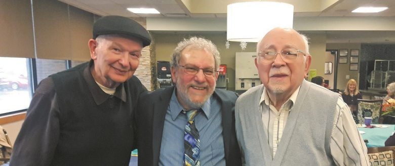 Dr. Charles Silow, center, with local survivors Ernie Kappel and Abram Shain at a recent Café Europa event at Prentis Jewish Senior Life Apartments in Oak Park.