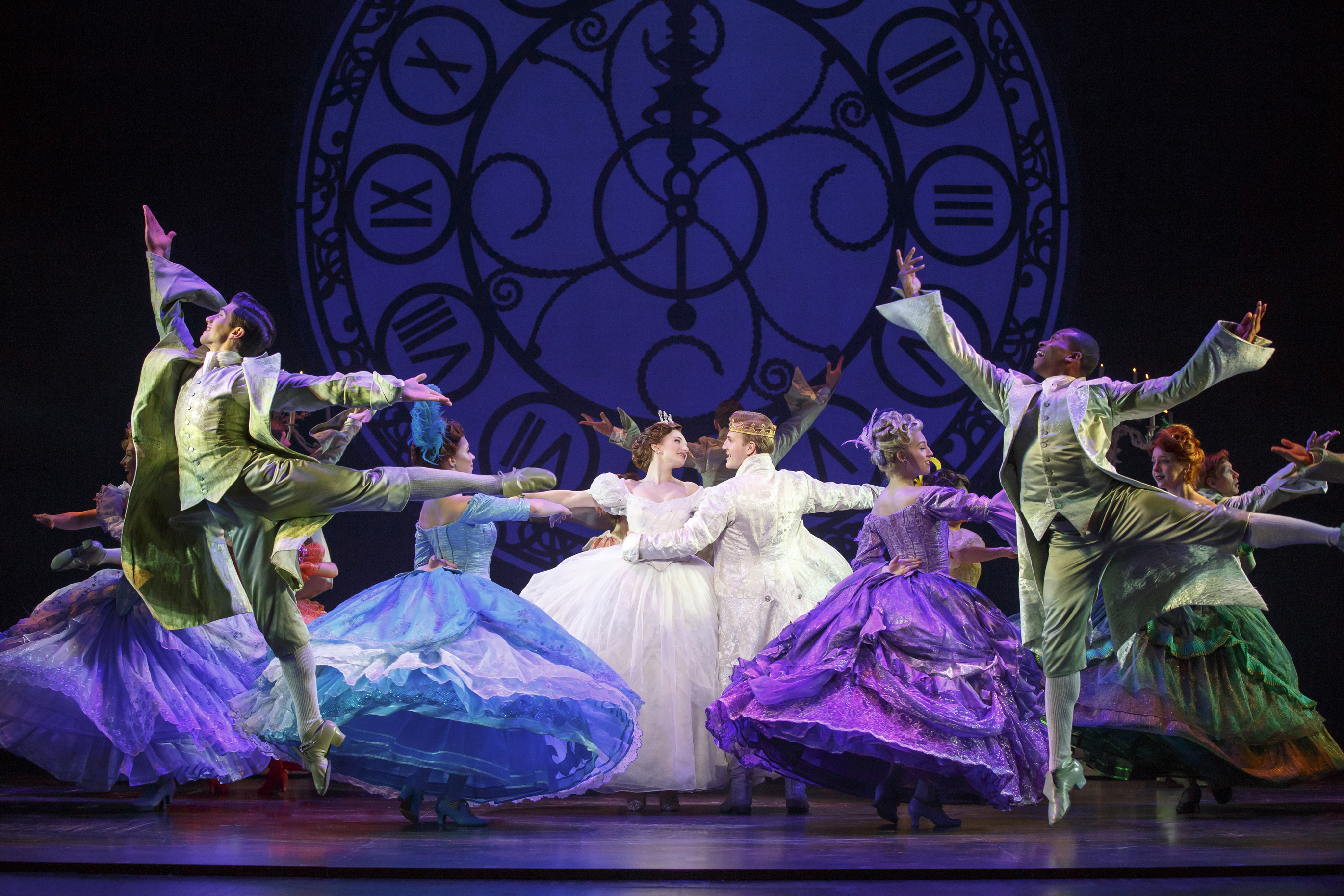 Tatyana Lubov and Louis Griffin (center) and the cast of Rodgers + Hammerstein's Cinderella.
