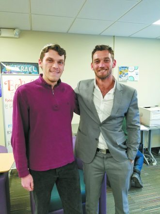 WSU SFI student Isaac Weiss with Israeli popular TV actor Dean Miroshnikov
