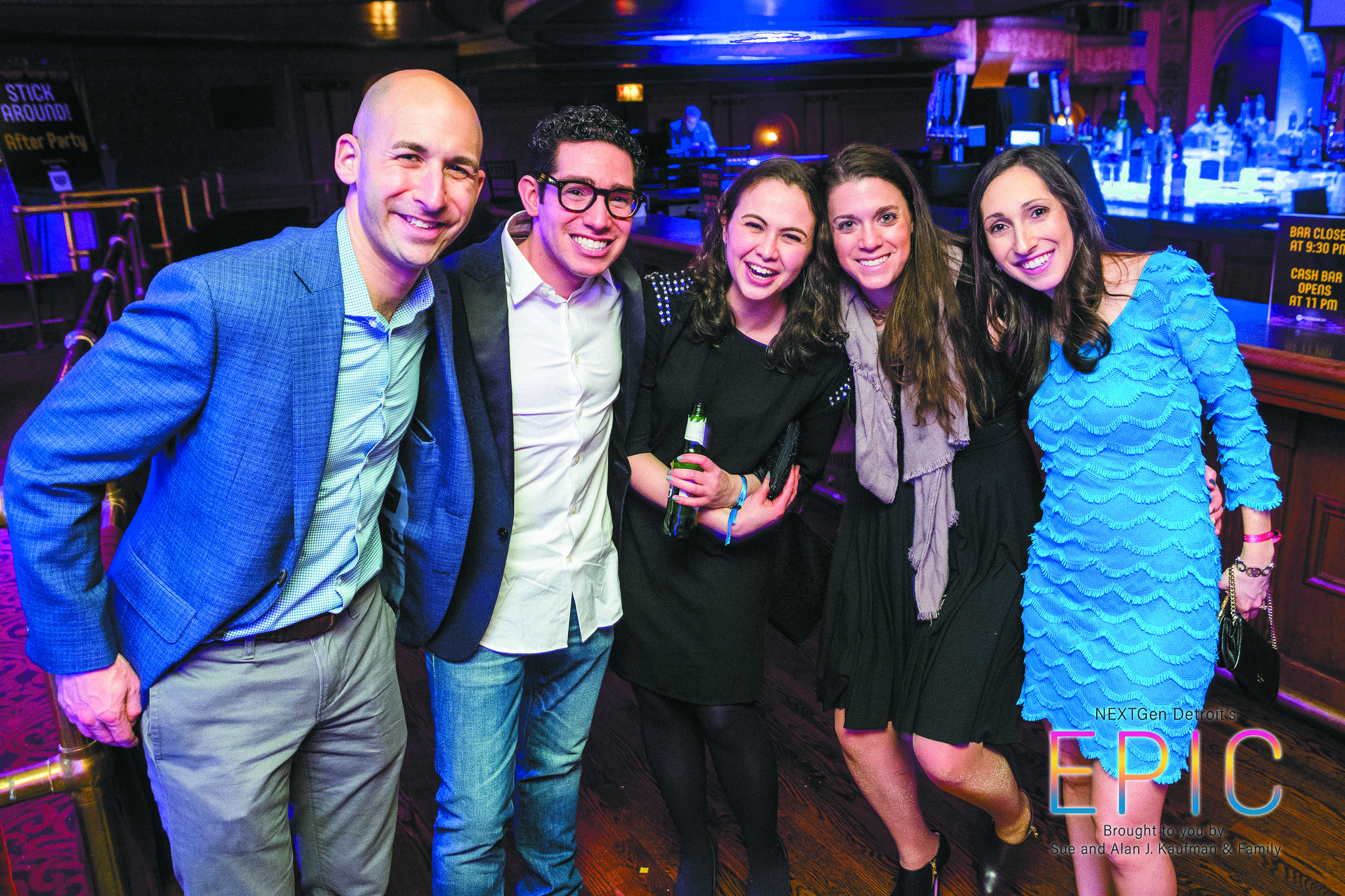 Adam Block, Joshua Goldberg, Lauren Hoffman, Jessica Katz and Ilana Block, NEXTGen Detroit president, at the group's EPIC event March 3 at The Fillmore Downtown. The event drew 550 young adults and raised a record $305,000 for Federation's Annual Campaign.