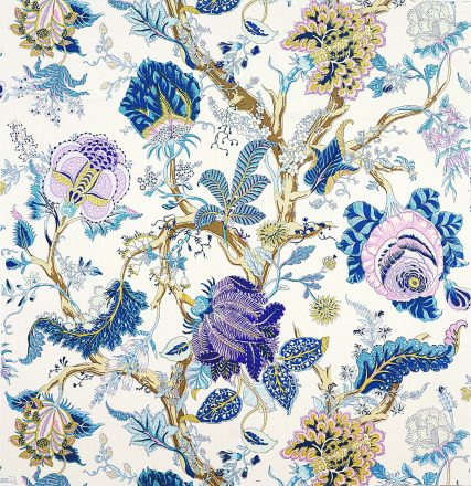Based on a 1920s document in the Schumacher archives, INDIAN ARBRE wallcovering in Hyacinth blossoms with large-scale florals, making it easy to use on just one wall or in a room full of purple. Schumacher, Michigan Design Center, Troy. (248) 649-4941; fschumacher.com.