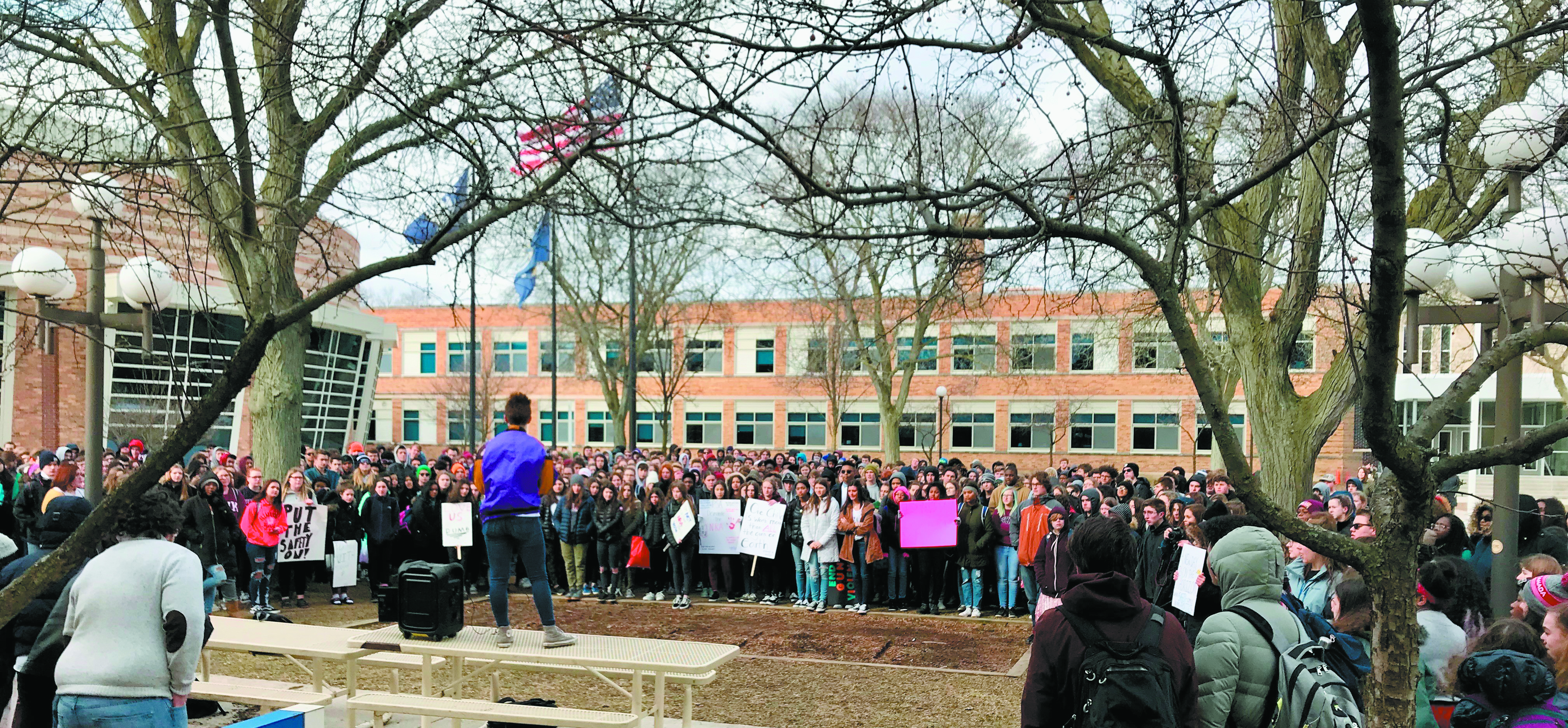 About 300 students gathered in the courtyard at Berkley High School during the walkout March 14 in solidarity with Marjory Stoneman Douglas High School in Parkland, Fla.