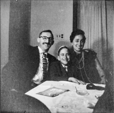 Irving and Harriet Berg with their son, Marty, at the Nadis seder in 1962