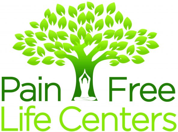 Pain Free Life Centers' logo of a tree with a figure doing yoga in the trunk.