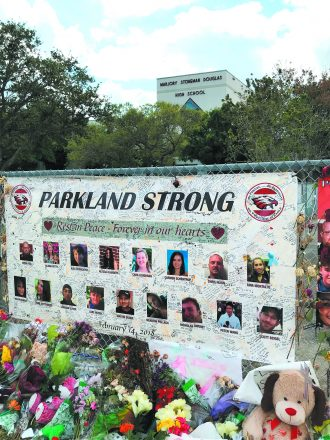 While traveling in South Florida, Detroiter Hy Safran visited the high school where this memorial honors the 17 people murdered Feb. 14 during the shooting.