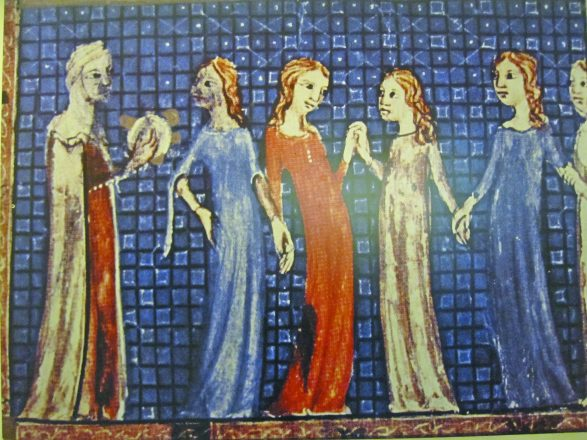 illustration of four women holding hands and a man holding matzah.