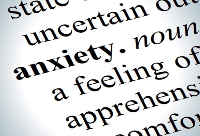 "Image of a dictionary defining the word ""anxiety"""