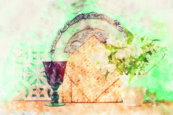 painting of wine and matzah and a seder plate and plant for Passover.