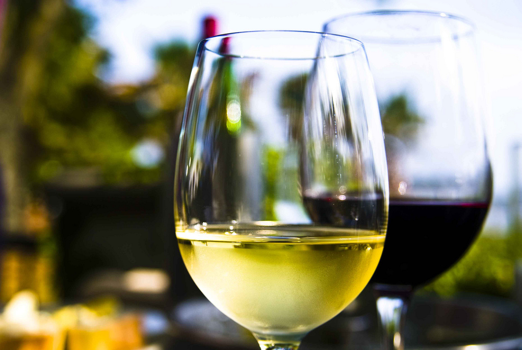 A bottle of white wine and a bottle of red wine outside in a spring or summer setting.