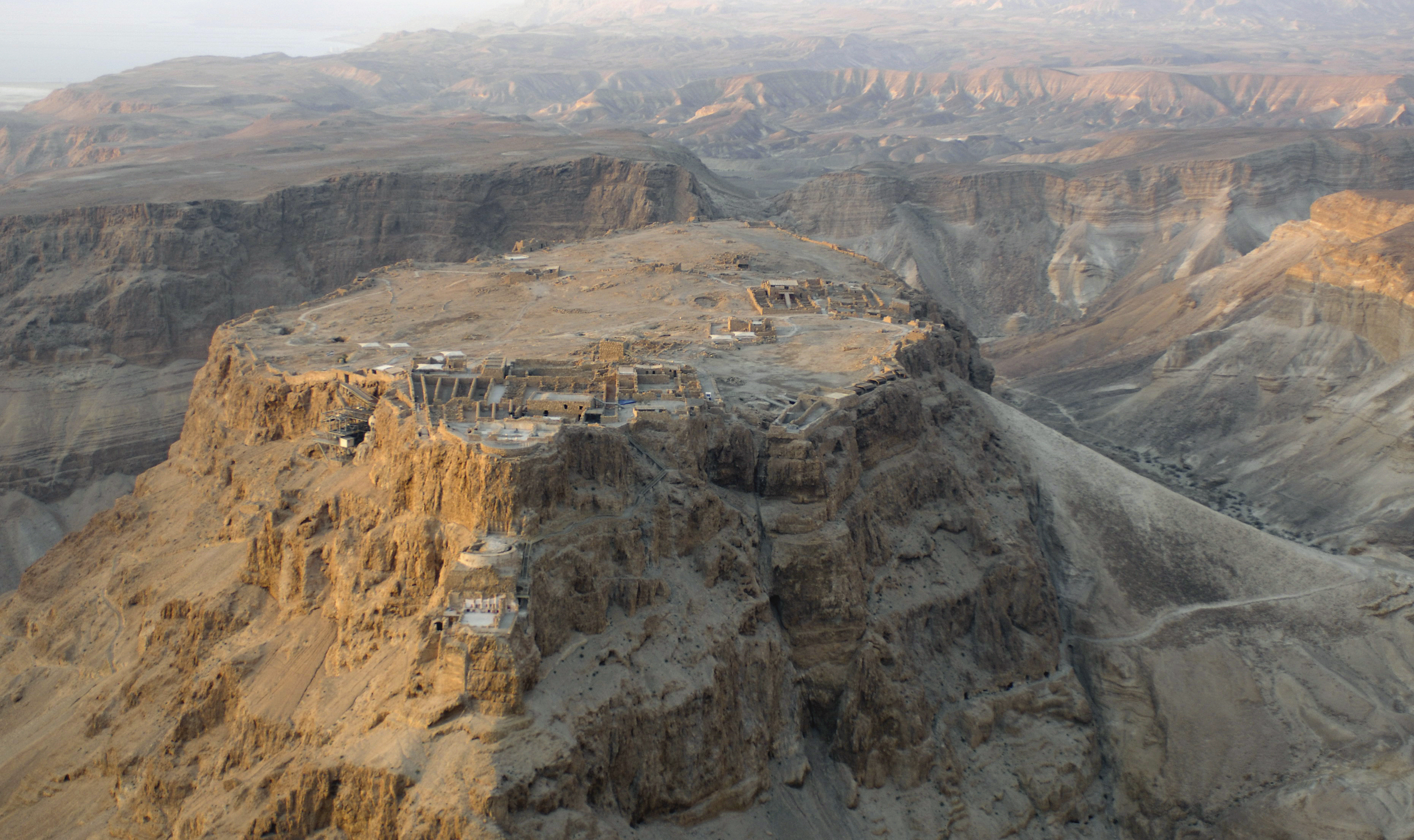 aerial view of Masada, Israel.