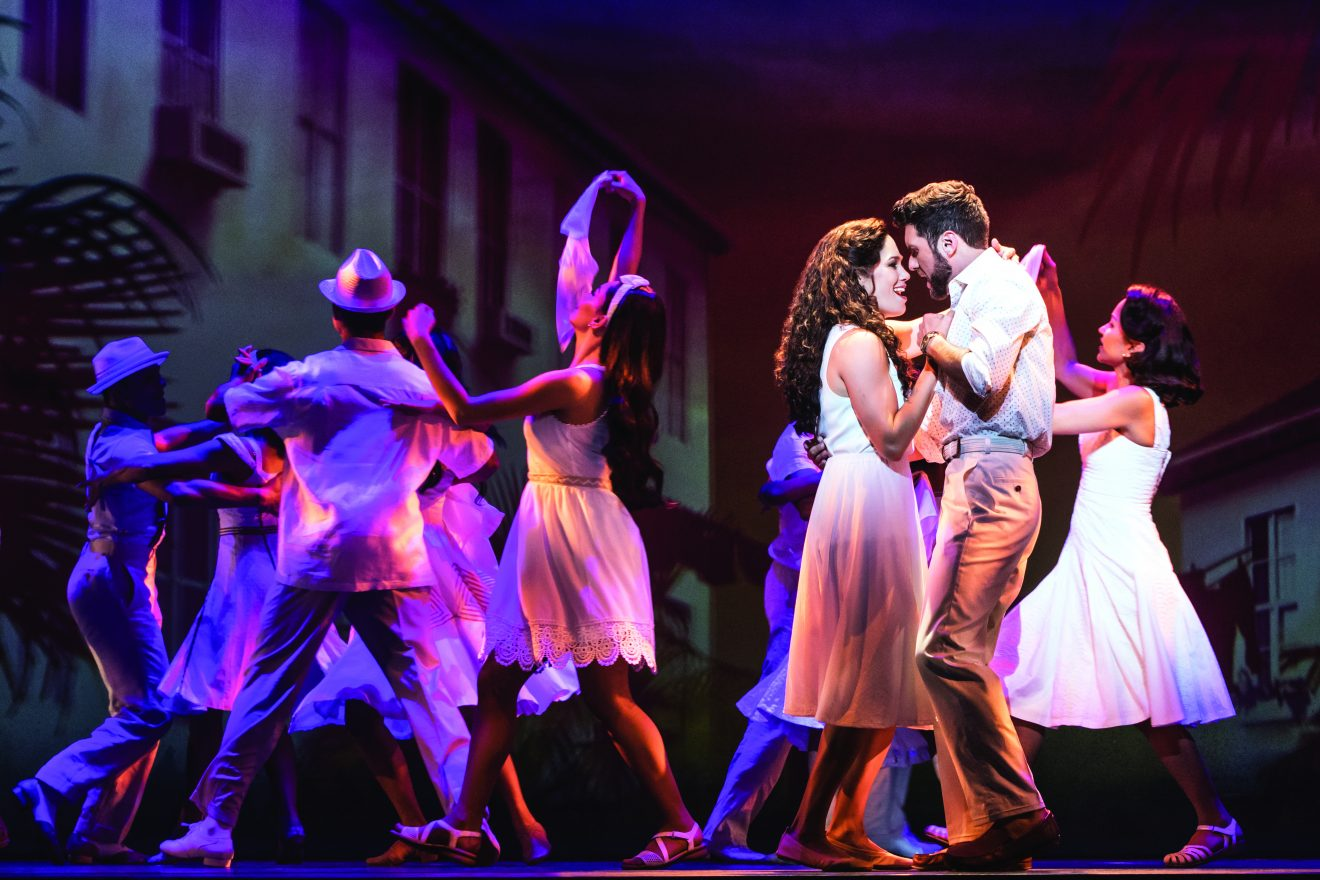 Christie Prades as Gloria Estefan and Mauricio Martinez as Emilio Estefan in On Your Feet! Photo by: Matthew Murphy